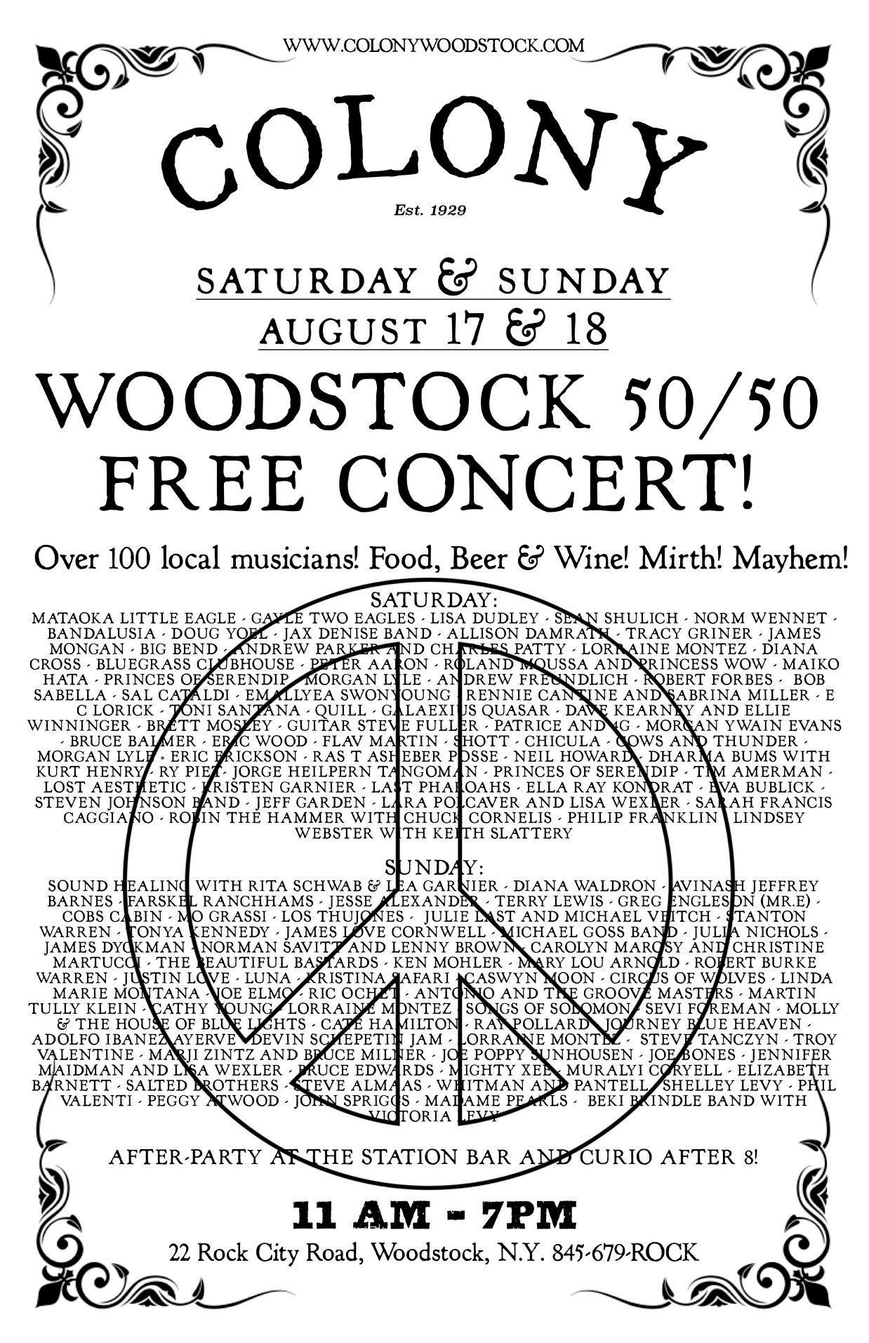 Woodstock 50/50 Concert poster